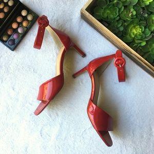 Franco Sarto Caruso red patent ankle strap pump